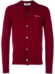 Comme Des Garcons Play V Neck Cardigan Red