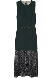 Toga Layered Twill And Leopard Print Voile Dress Green