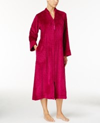 Miss Elaine Dot Textured Fleece Zip Front Robe Vintage Berry