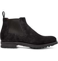 Santoni Burnished Suede Chelsea Boots Charcoal
