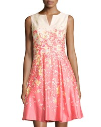 Chetta B Floral Sleeveless A Line Dress Coral Light Peach