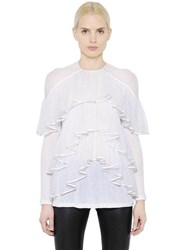 Givenchy Ruffled Light Cotton Crepe Jersey Top