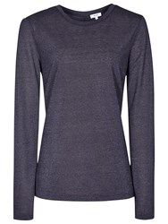 Reiss Milly Button Back Long Sleeve Jersey Top Navy