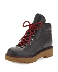 Prada Lace Up Leather Hiking Boot Black Nero