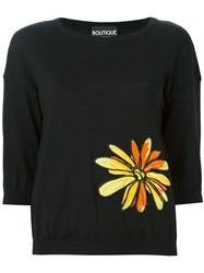Boutique Moschino Floral Embroidery Sweater Black