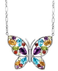 Macy's Sterling Silver Necklace Multistone And Diamond Accent Butterfly Pendant