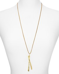 Alexandra Koumba Leather Wishbone Pendant Necklace 30 Gold
