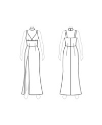 Customize Close Waist Cutouts Fame And Partners Maxi Dress With Separate Collar White