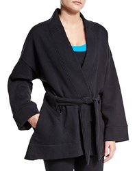 Lucas Hugh Long Sleeve Belted Kimono Sport Jacket Black