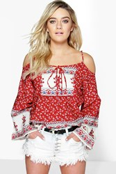 Boohoo Paisley Border Print Cold Shoulder Woven Top Red