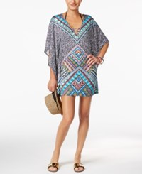 Bar Iii Printed Tunic Coverup Only At Macy's Women's Swimsuit Cadet Blue