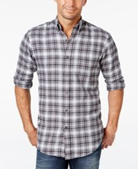 John Ashford Men's Big And Tall Long Sleeve Plaid Shirt Only At Macy's Onyx