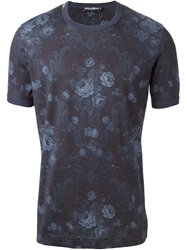 Dolce And Gabbana Baroque Flower Print T Shirt Blue