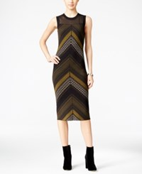 Rachel Roy Illusion Printed Sweater Dress Green Black Mustard
