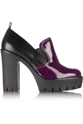 Marc By Marc Jacobs Two Tone Leather Platform Pumps Purple