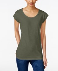 Styleandco. Style And Co. Cap Sleeve Scoop Neck Top Only At Macy's Olive Sprig