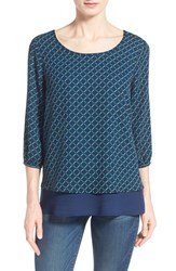 Women's Pleione Layered Chiffon Top Midnight Green Mustard