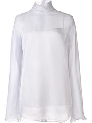Nina Ricci High Collar Organza Blouse Pink Purple