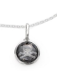 Ippolita Ippolitini Onyx Clear Quartz And Sterling Silver Doublet Intaglio Jolly Roger Skull Charm Pendant