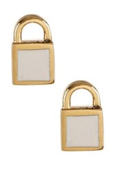 Marc By Marc Jacobs Mini Enamel Padlock Stud Earrings White