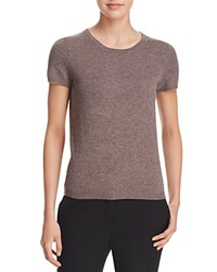 Bloomingdale's C By Short Sleeve Cashmere Sweater Heather Rye