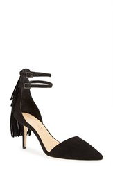 Daya Women's 'Ansley' Fringe Pointy Toe Pump Black Suede