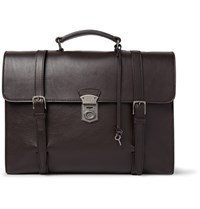 Dolce And Gabbana Siracusa Grained Leather Briefcase Dark Brown
