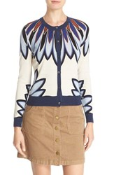 Tory Burch Women's 'Sawyer' Floral Print Wool And Silk Cardigan Royal Navy Eden