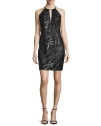 Carmen Marc Valvo Sleeveless Embroidered Sheath Cocktail Dress Black