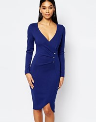 Lipsy Ruched Front Pencil Dress With Button Detail Navy