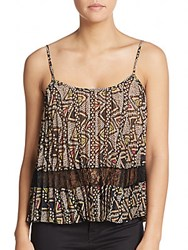 Bcbgeneration Printed Lace Trim Tank Top Natural Multi