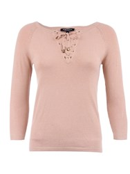 Morgan Knitted Laced Collar Cotton Sweater Beige