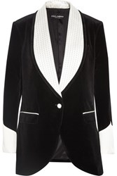 Dolce And Gabbana Silk Blend Trimmed Velvet Blazer Black