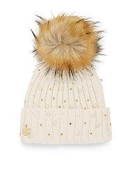 Betsey Johnson Faux Fur Pompom Beanie Black