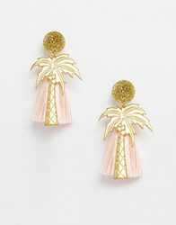 Suzywan Deluxe Suzywan Palm Tree Tassel Earrings Pink