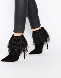 Little Mistress Crawford Point Toe Heeled Boots With Feather Detail Black