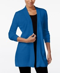 Karen Scott Open Front Sweater Cardigan Only At Macy's Only At Macy's Deep Pacific