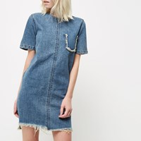 River Island Womens Petite Blue Wash Frayed Denim T Shirt Dress