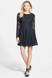 Painted Threads Floral Lace Skater Dress Juniors Black