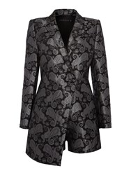 Lavish Alice Long Sleeve Brocade Playsuit Black
