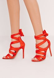 Missguided Ankle Lace Up Heel Red Red