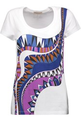 Emilio Pucci Printed Cotton Jersey T Shirt Purple