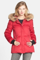 Pendleton Down Parka With Genuine Coyote Fur Trim Red