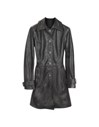 Forzieri Black Leather Trench Coat Brown