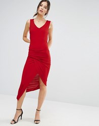 Liquorish Red Sleeveless Asymmetric Ruched Dress With V Neck Red