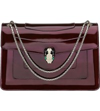Bulgari Serpenti Forever Leather Shoulder Bag Plum Amethyst