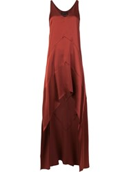 Narciso Rodriguez Asymmetric Silk Dress Red