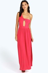 Boohoo Lucia One Shoulder Drape Front Maxi Coral