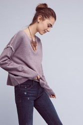 Anthropologie Blanket Stitched Pullover Lilac