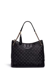 Tory Burch 'Fleming' Quilted Leather Tote Black